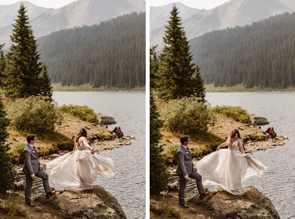 bride twirling on a rock by a lake in Breckenridge