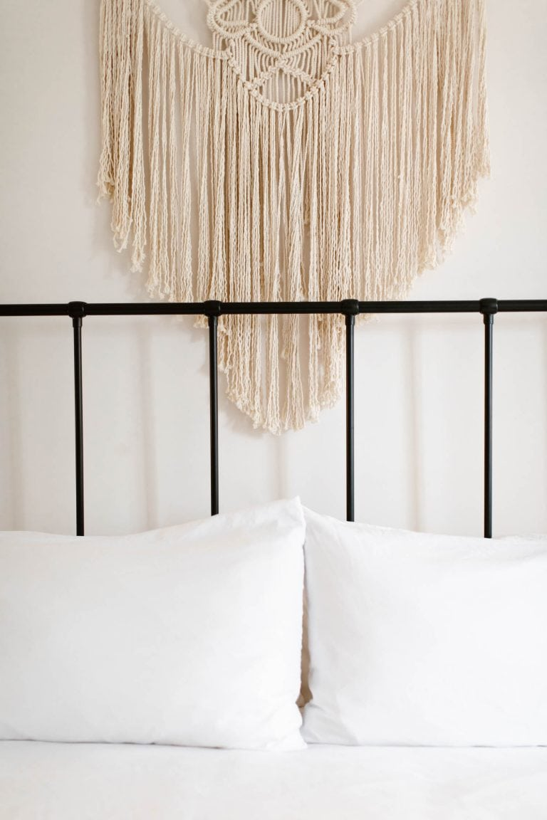 macrame wall hanging above the bed at the Surf Hotel Buena Vista CO
