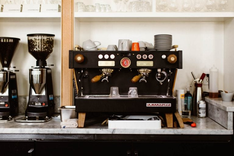 La Marzocco espresso machine behind the bar at the Surf Hotel Buena Vista CO