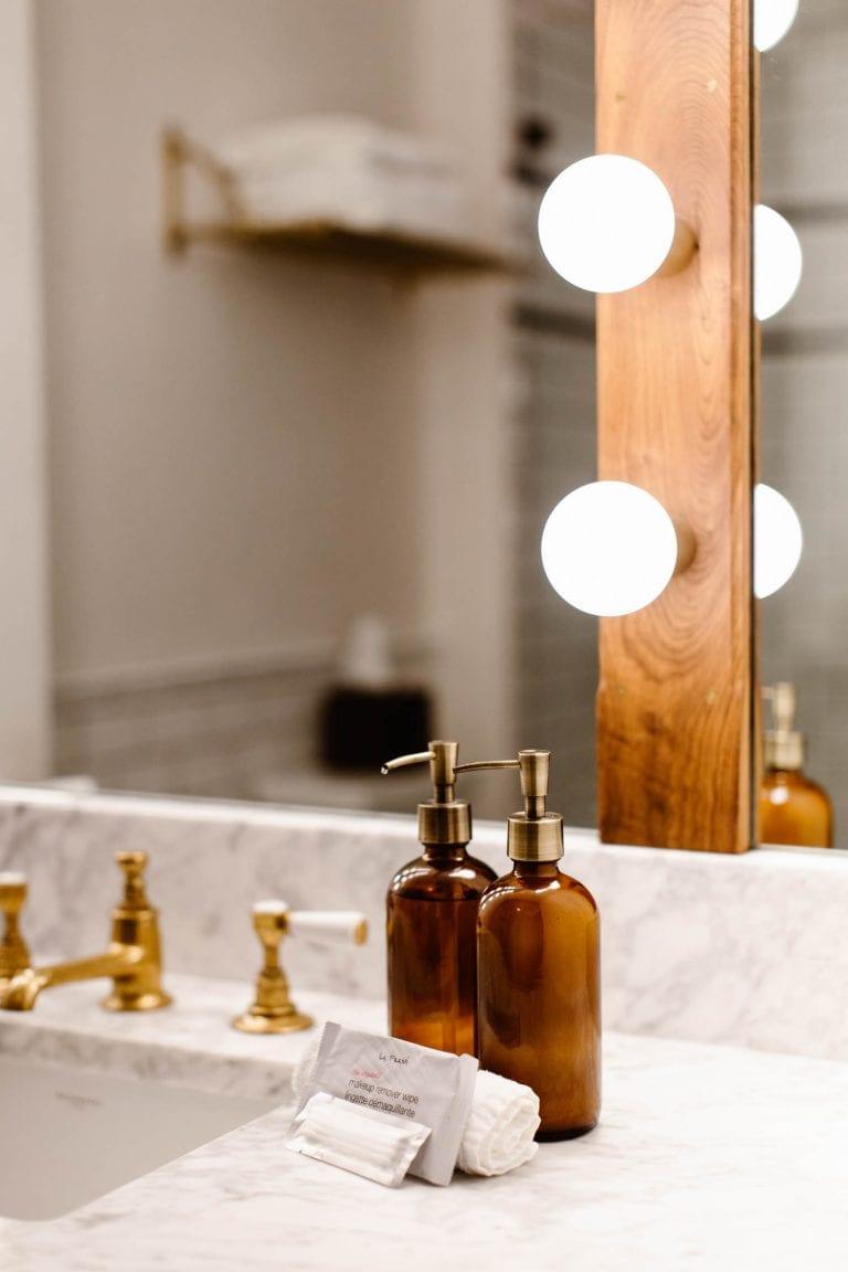 marble countertop bathroom at the Surf Hotel Buena Vista CO