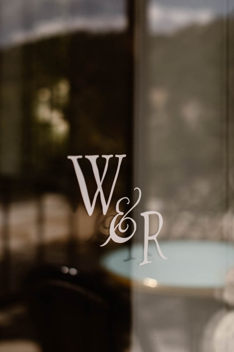 window sign for the Wesley and Rose lobby bar for the Surf Hotel Buena Vista CO
