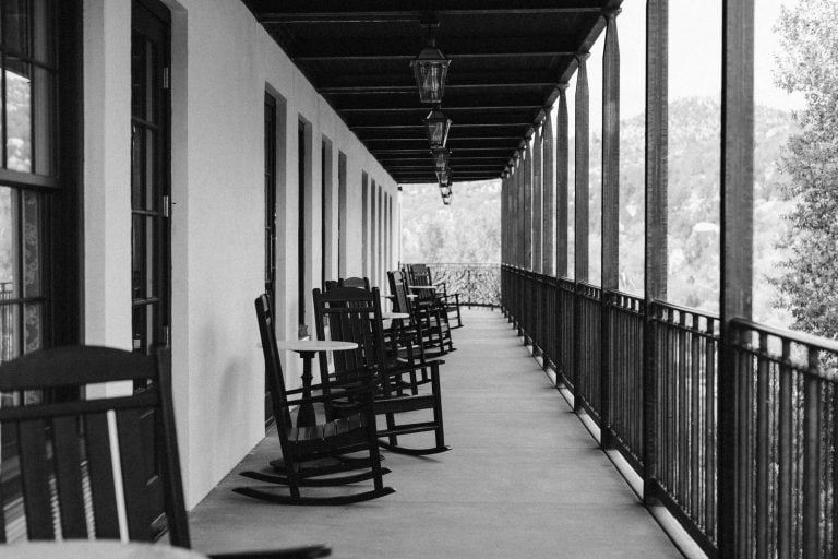 wraparound porch on the second floor of the Surf Hotel Buena Vista CO