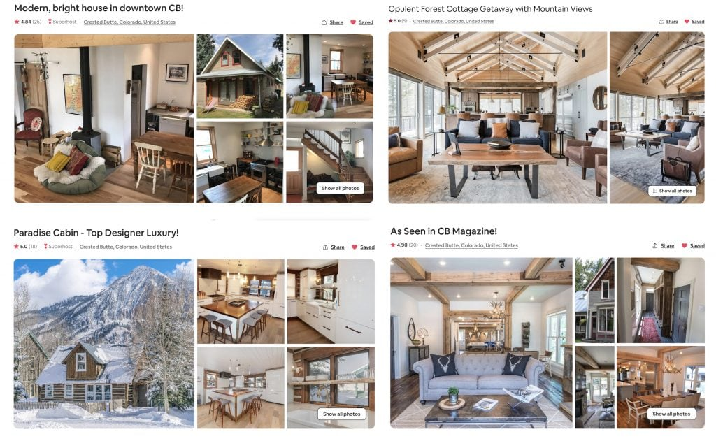 compilation of best Crested Butte Airbnbs and CB vacation rentals