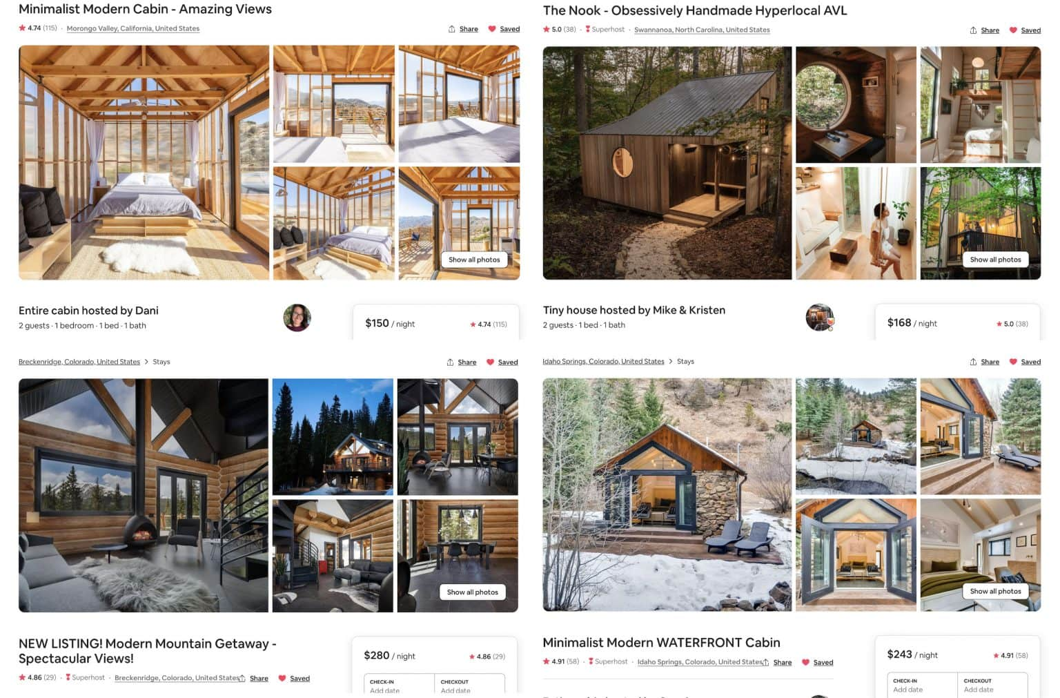 compilation of cool cabin rentals in the US | list of the best cabin vacation rentals