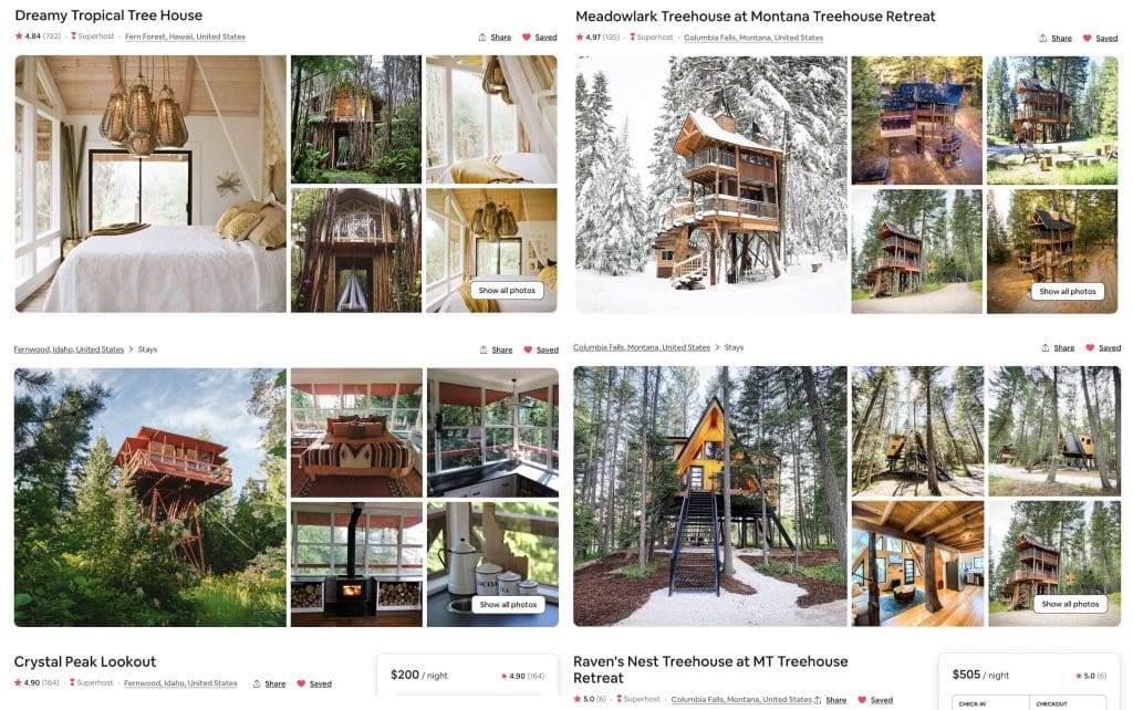 compilation of treehouse vacation rentals | cool treehouse Airbnb