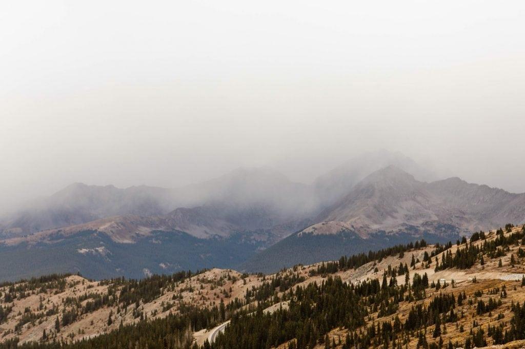 fog enveloping the mountains near Buena Vista Colorado