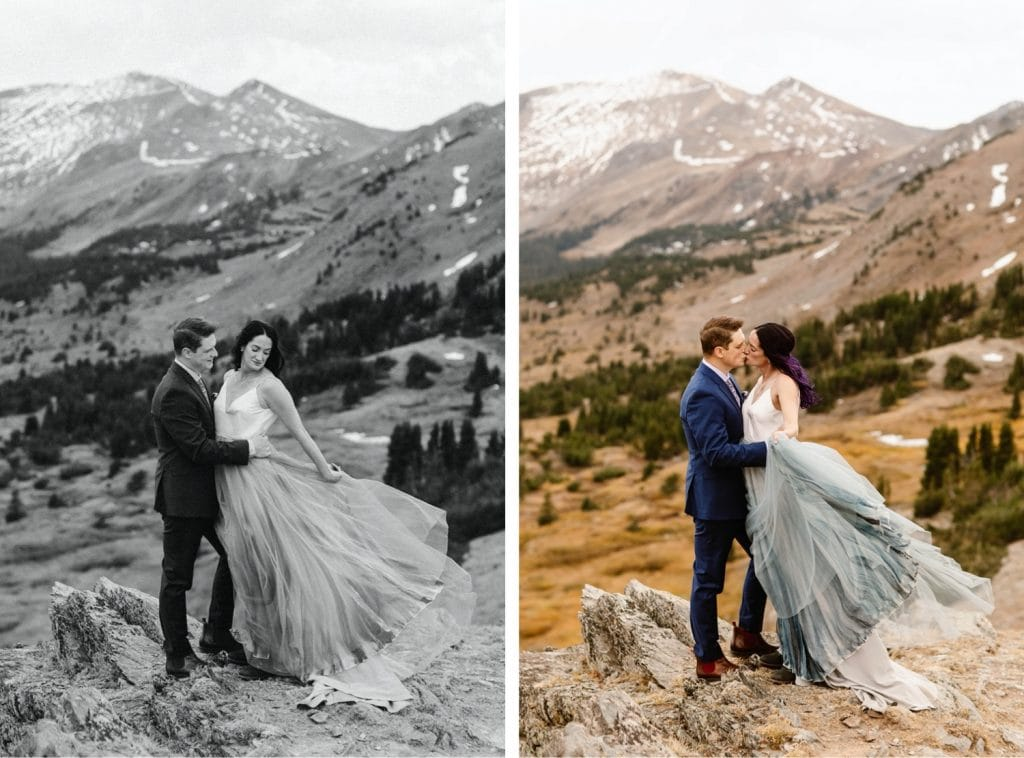 couple standing on the edge of a cliff in the mountains before their Buena Vista elopement ceremony