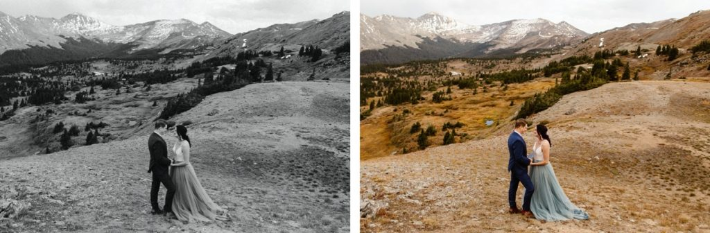 Buena Vista elopement ceremony overlooking the mountains