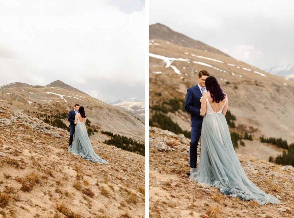 bride and groom standing together in the mountains during their Buena Vista elopement ceremony