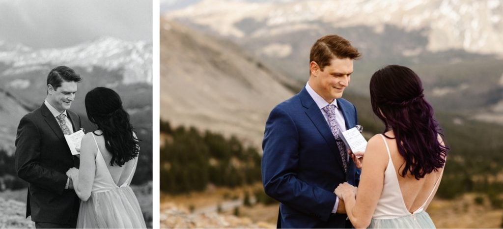 groom smiling at bride while she reads her vows