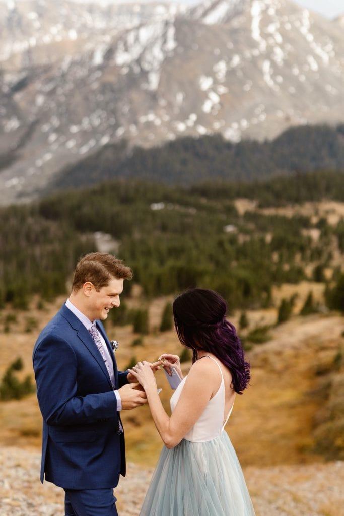Buena Vista elopement ceremony ring exchange