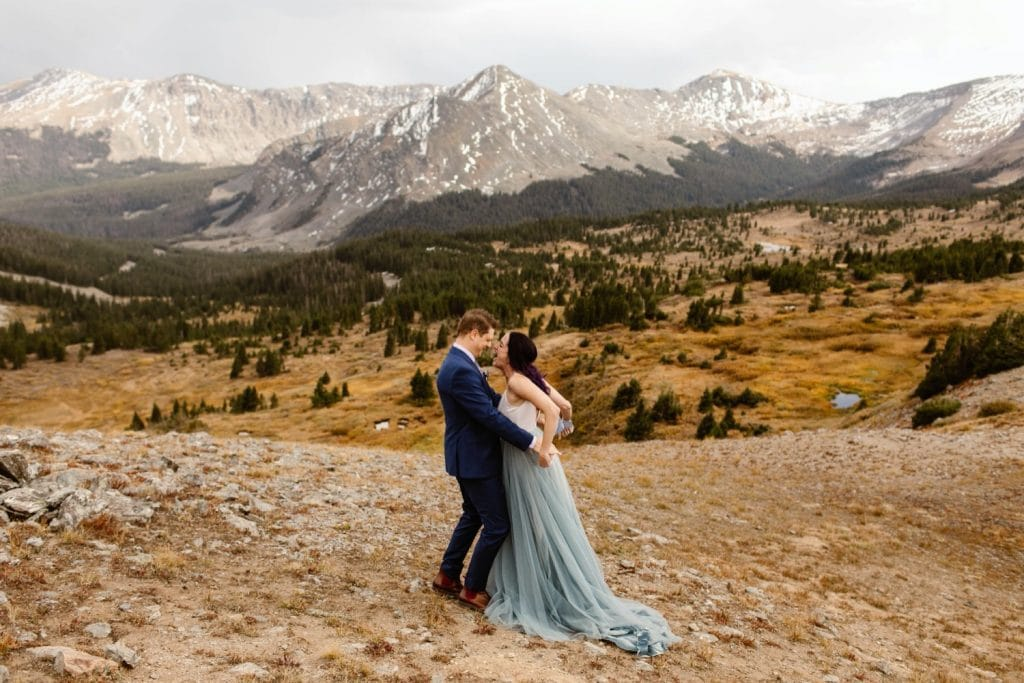 Buena Vista elopement couple going in for their first kiss