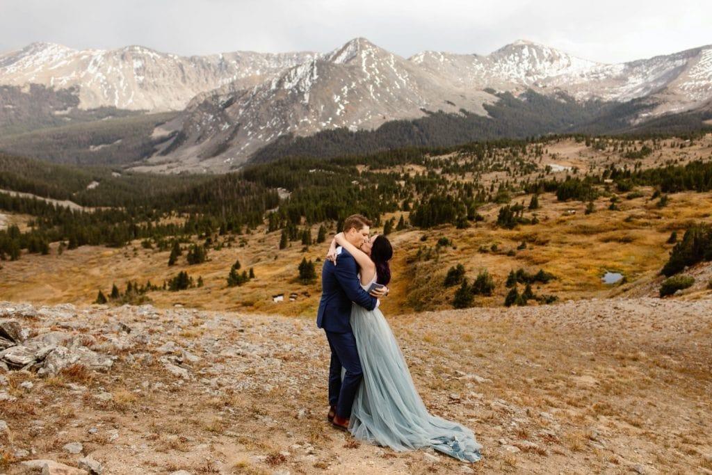 Buena Vista elopement ceremony first kiss