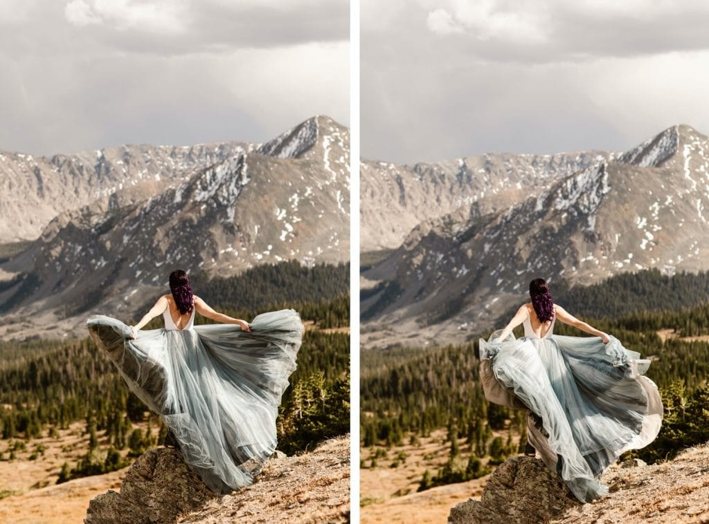 bride tossing and twirling her dress