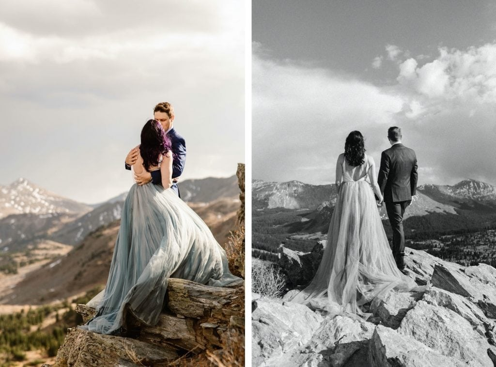 bride and groom standing on a cliffside as the wind blows by on their Buena Vista elopement day