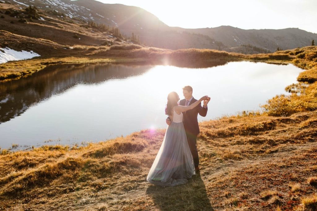 couple sharing their first dance during their Buena Vista elopement