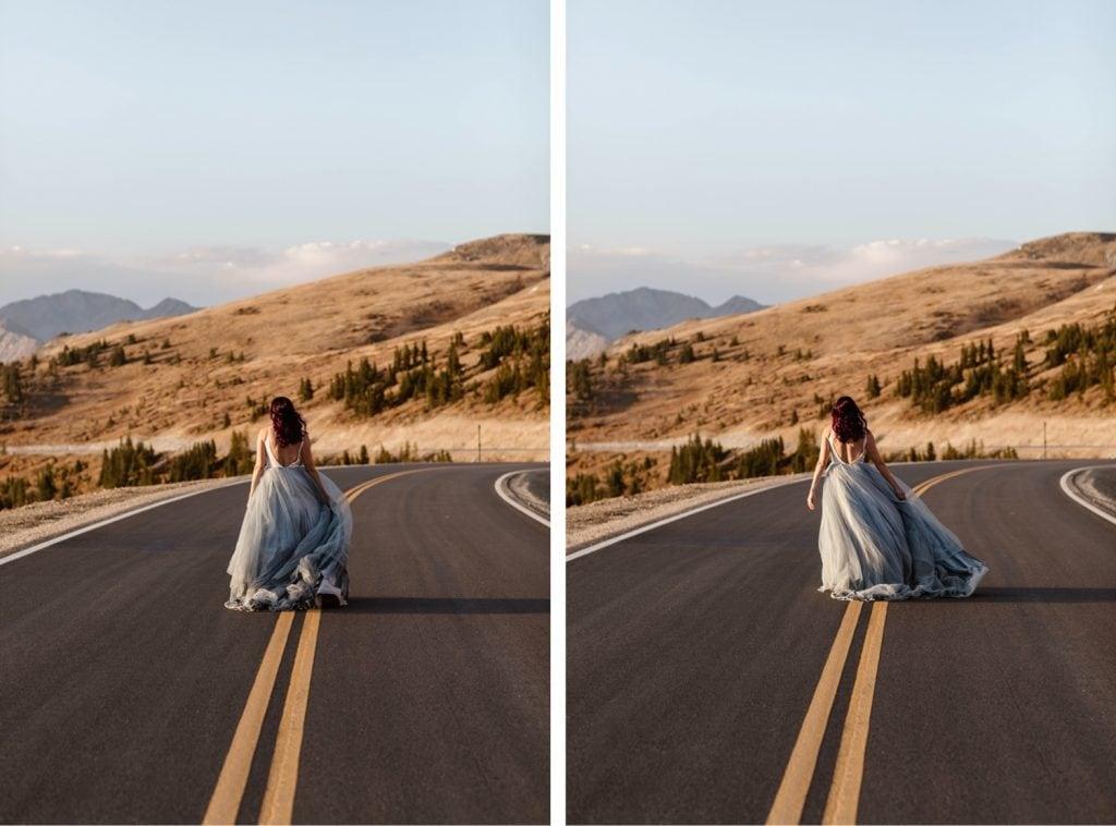 bride walking down a mountain road in Buena Vista Colorado in her flowy wedding dress