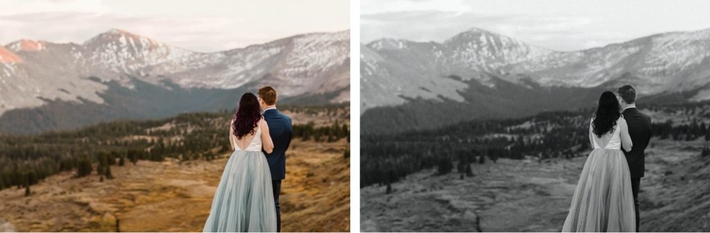 Buena Vista elopement couple standing on the edge of a cliff overlooking the mountains