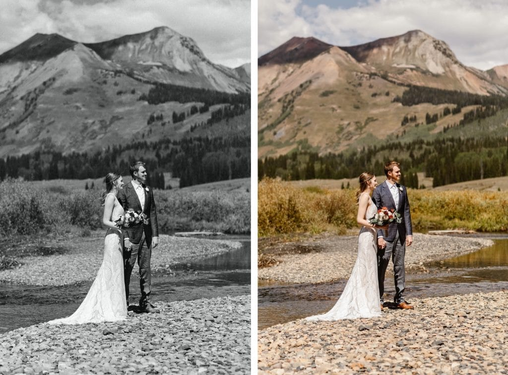 bride and groom standing together by the East River during their Crested Butte elopement ceremony