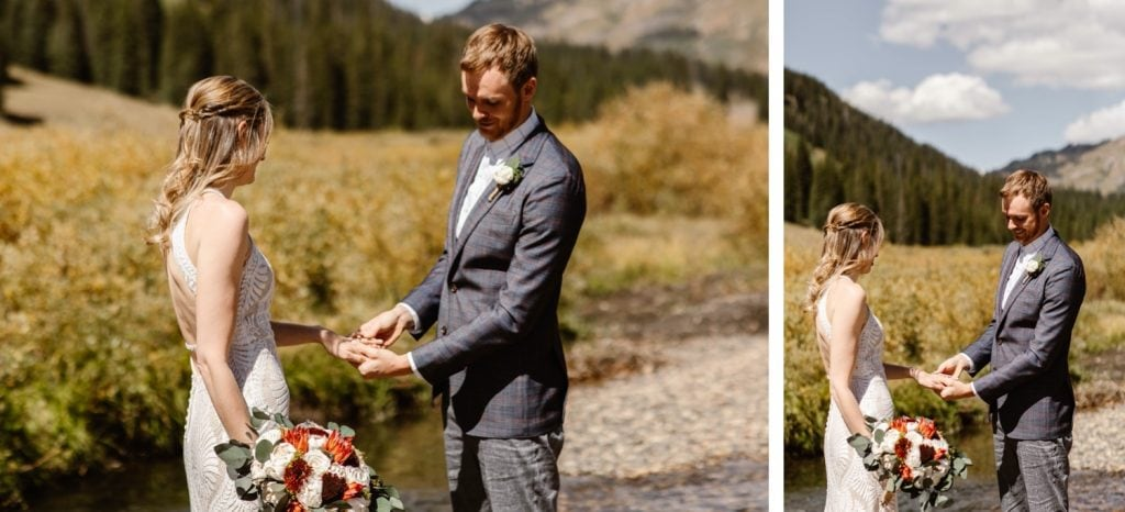 elopement ring exchange