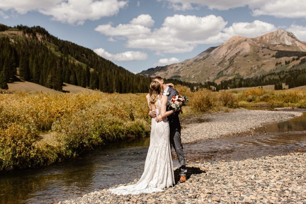couple sharing their first kiss during their Crested Butte elopement ceremony
