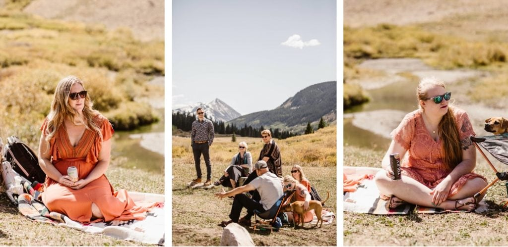 Crested Butte elopement camp-style picnic reception