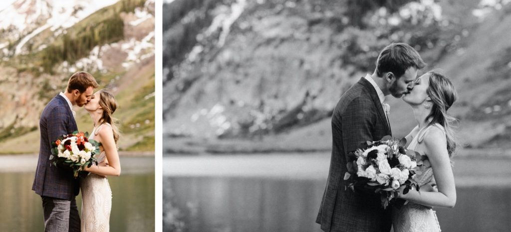 Crested Butte elopement photos of a couple standing lakeside