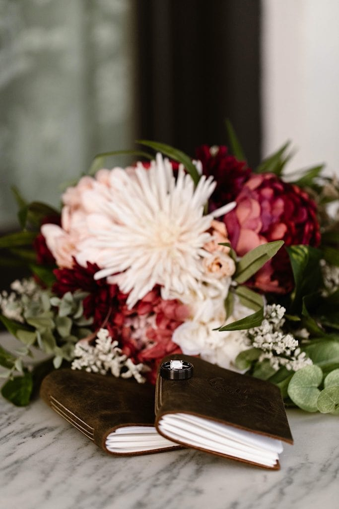 vow books and bouquet for a Great Sand Dunes National Park elopement