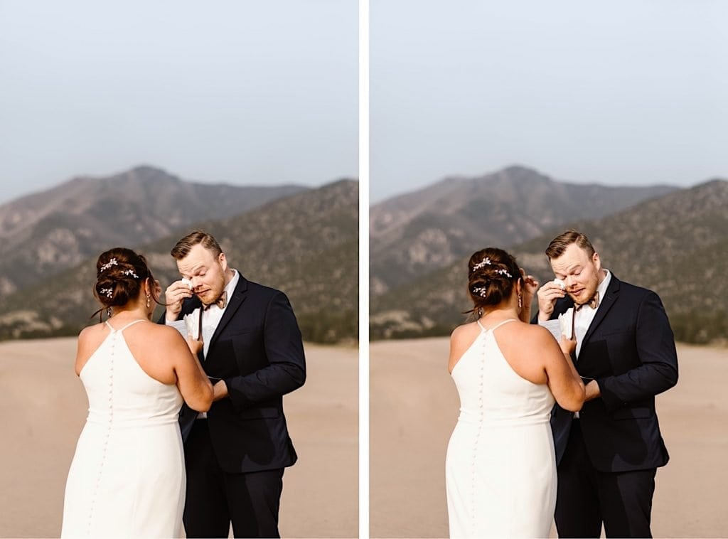 groom crying during his Great Sand Dunes National Park elopement ceremony