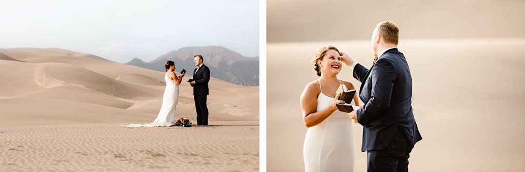bride and groom reading notes from non-present family members during their Great Sand Dunes National Park elopement ceremony