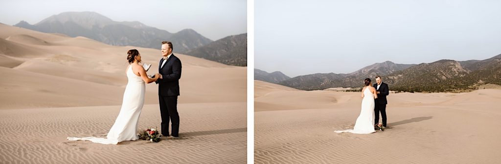 bride reading her vows to the groom during their Great Sand Dunes National Park elopement ceremony