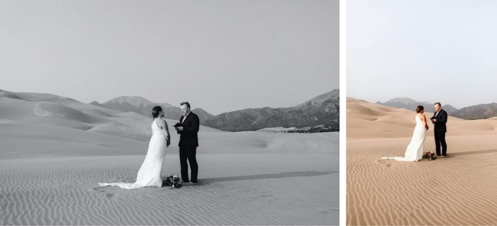 groom reading his vows to the bride during their Great Sand Dunes National Park elopement ceremony