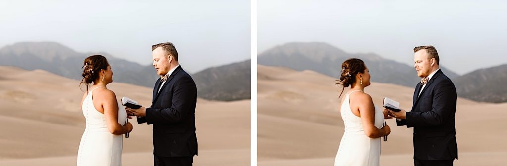 Great Sand Dunes National Park elopement ring exchange
