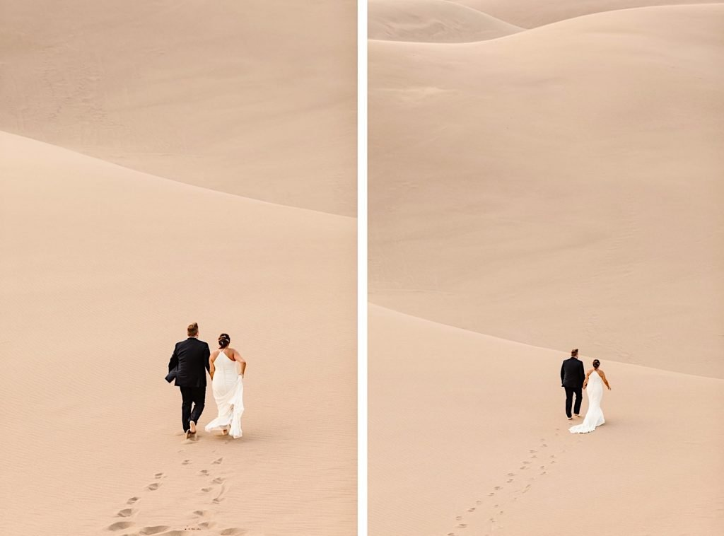 bride and groom running on the sand dunes