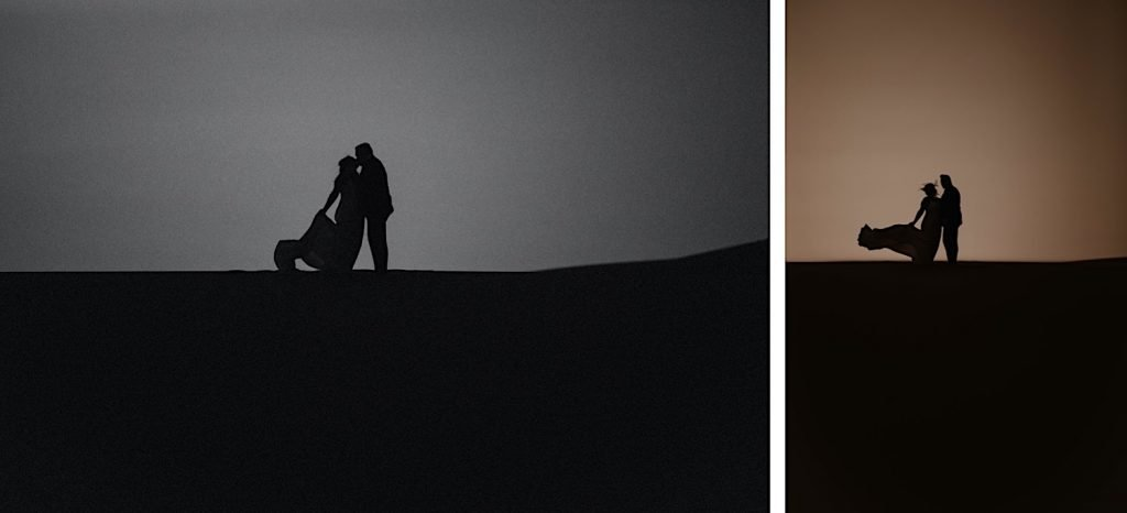 silhouette of Great Sand Dunes National Park elopement couple