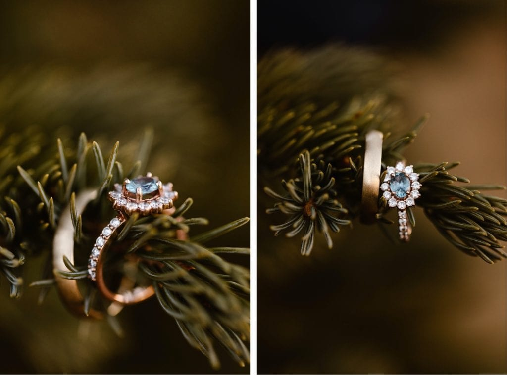 aquamarine engagement ring sitting on a tree branch
