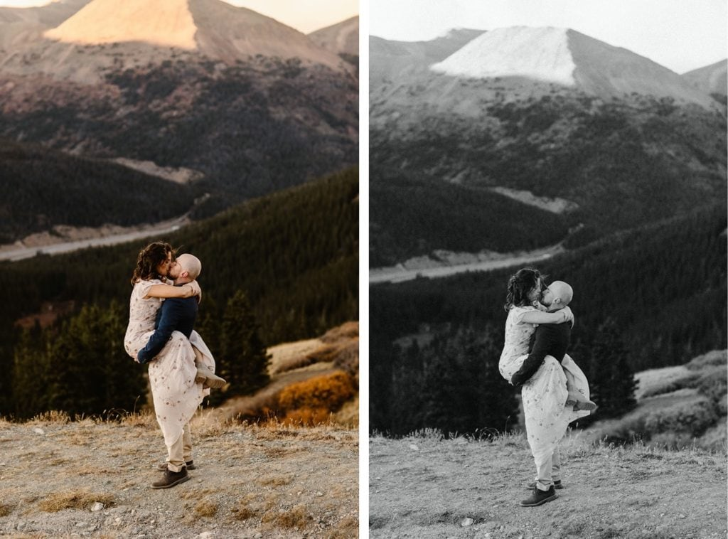 groom lifting bride up while they kiss in the mountains of Colorado