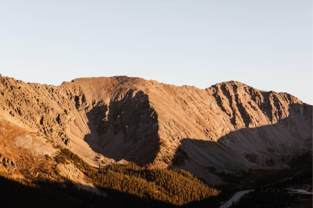 mountain in Colorado basked in alpenglow