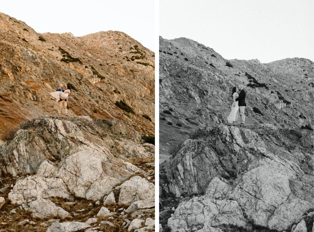 Colorado micro wedding couple standing on the edge of a giant rock in the mountains
