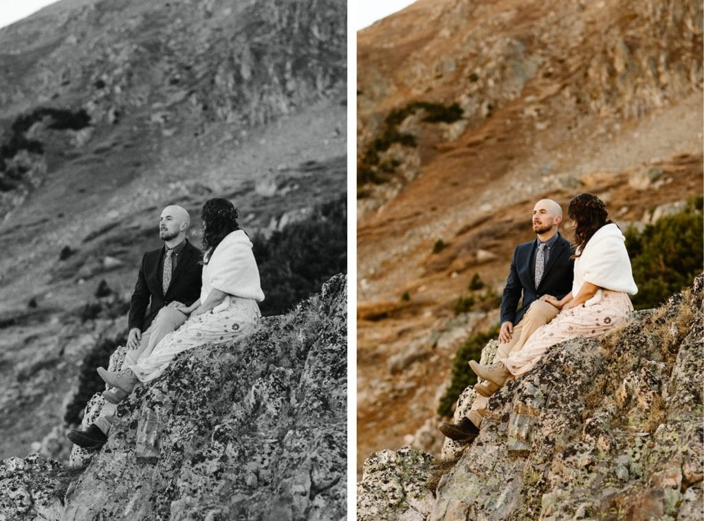 micro wedding couple sitting on the edge of a rock enjoying each other's company