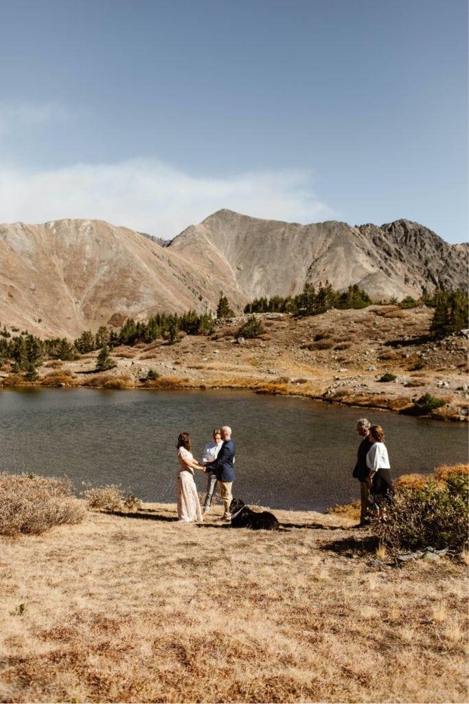 Colorado micro wedding ceremony by a mountain lake