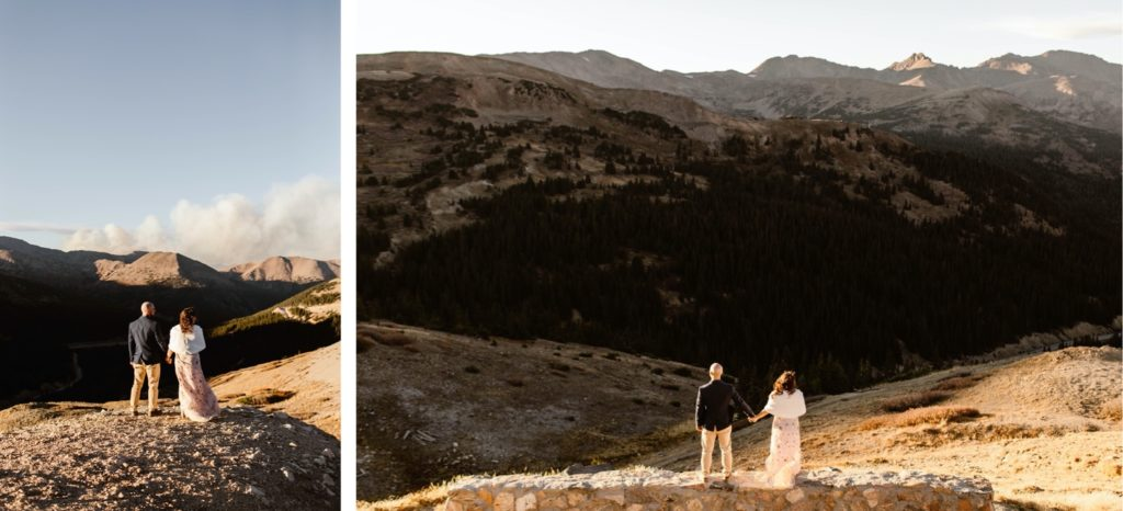 Colorado micro wedding sunset photos with tall mountains in the background