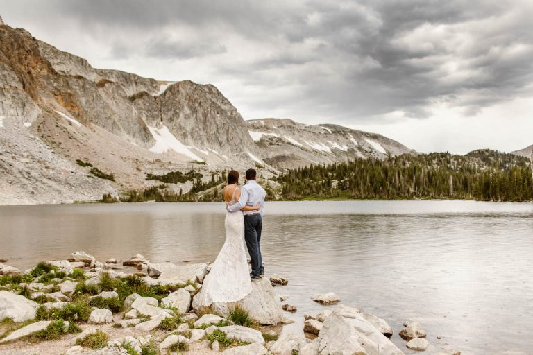 Colorado elopement photographers documenting adventure elopement in the Medicine Bow NF