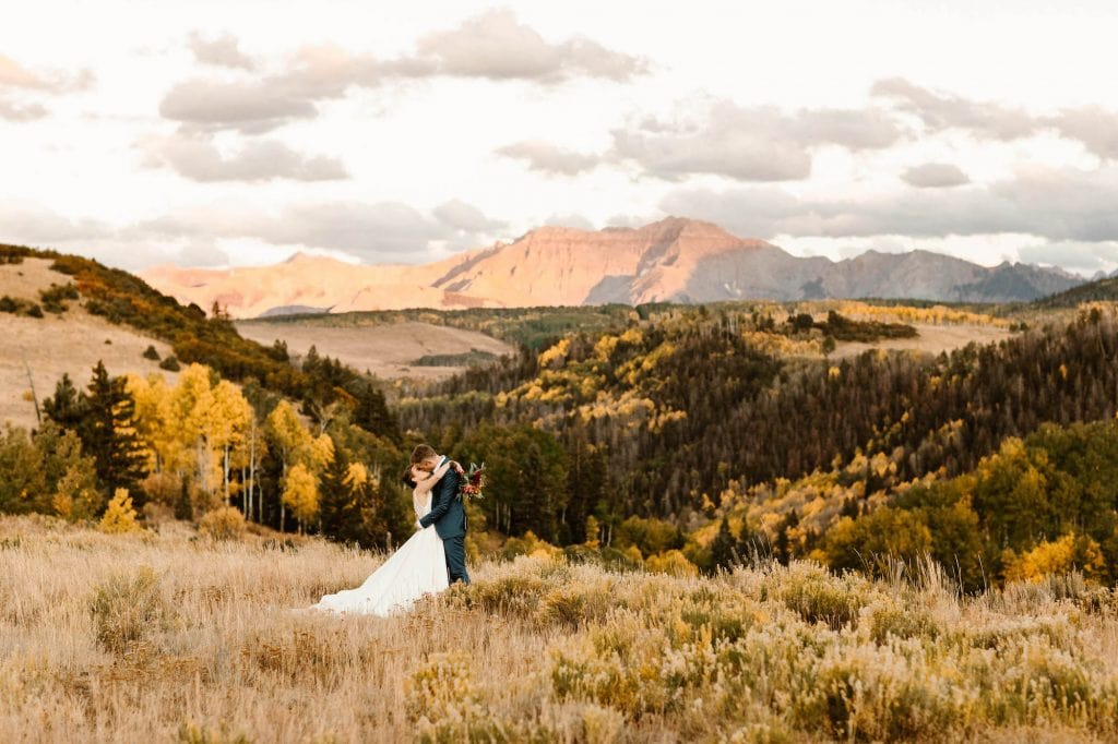 Adventure elopement in the mountains of Telluride during the fall taken by Colorado elopement photographers