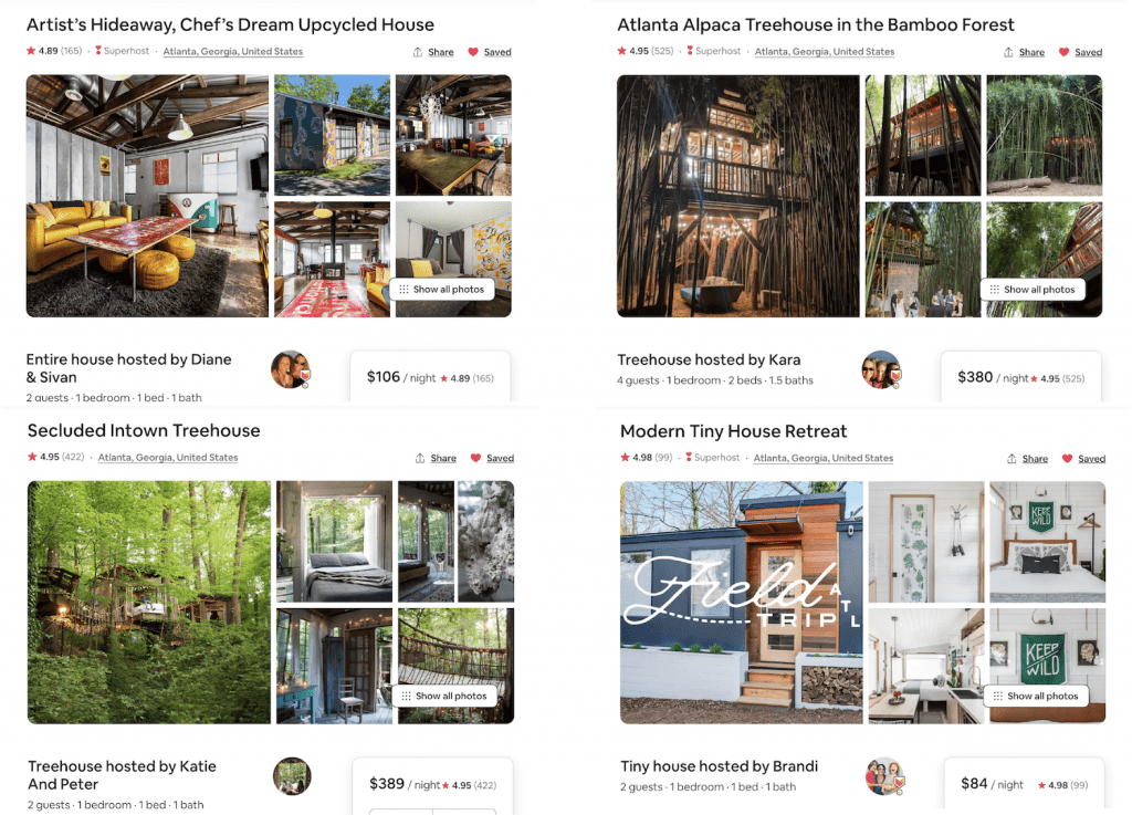 compilation of the best Airbnbs in Atlanta