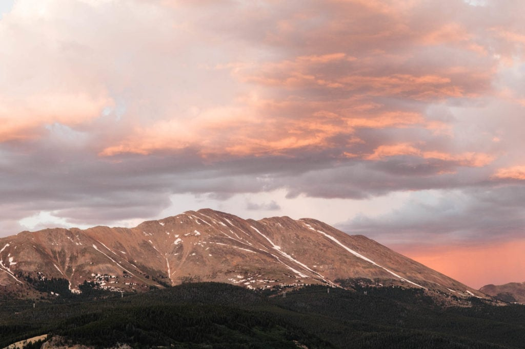 cotton candy sky sunset mountain landscape near Breckenridge Airbnb options