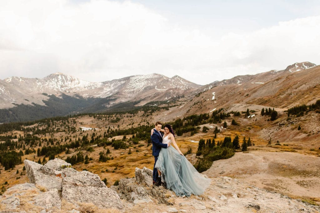 example of how to make an elopement special by wearing non traditional outfits