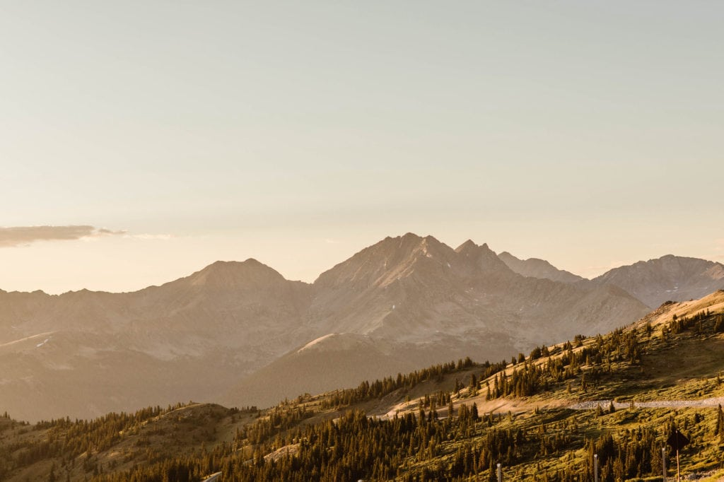 sunset in the mountains near BV Colorado - coolest mountain towns in CO