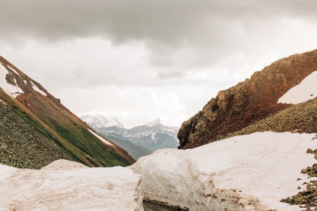 views from a mountain pass in Silverton - coolest towns in Colorado