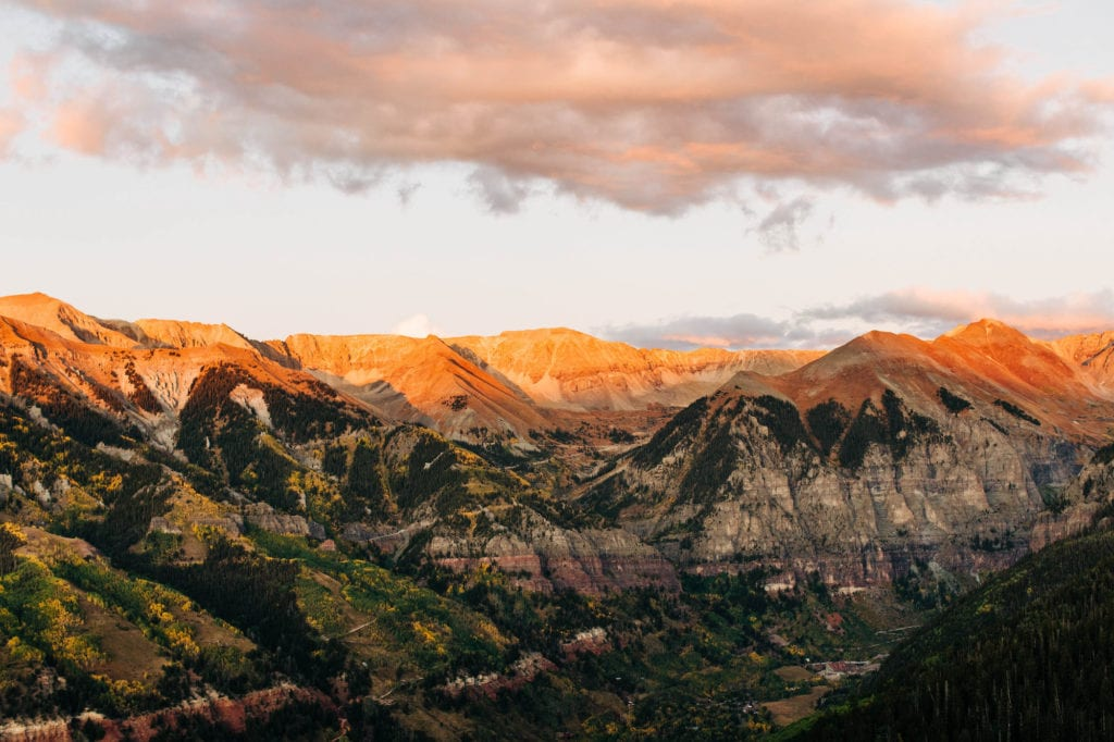 view from the gondola in Telluride - best mountain towns in Colorado